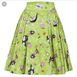 Little Jun green Villains print skirt Large